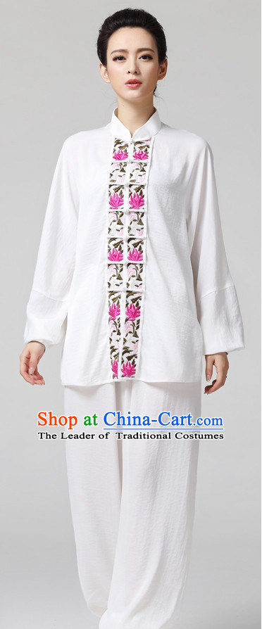White Chinese Kung Fu Tai Chi Wushu Shaolin Uniform Wudang Uniforms Wu Shu Nanquan Kungfu Changquan Costume Uniform Martial Arts Tai Chi Taiji Uniforms