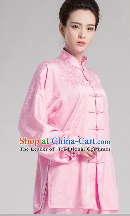 Pink Chinese Kung Fu Tai Chi Wushu Shaolin Uniform Wudang Uniforms Wu Shu Nanquan Kungfu Changquan Costume Uniform Martial Arts Tai Chi Taiji Uniforms