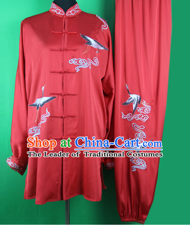 Red Crane Chinese Kung Fu Tai Chi Wushu Shaolin Uniform Wudang Uniforms Wu Shu Nanquan Kungfu Changquan Costume Uniform Martial Arts Tai Chi Taiji Uniforms