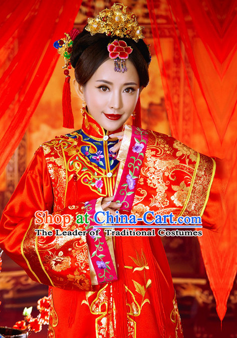 Traditional Chinese Women Empress Clothing Imperial Princess Wedding Dresses National Costume and Hair Ornaments Complete Set