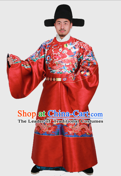 Chinese Emperor Ming Dynasty Han Fu Costumes Men Clothing Male Costume and Hat Complete Set