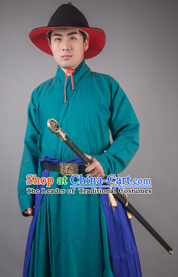Chinese Ming Dynasty Solider Han Fu Costumes Men Clothing Male Costume and Hat Complete Set