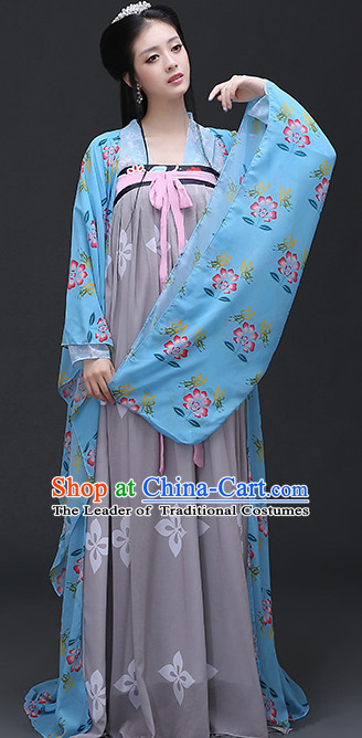 Chinese Tang Dynasty Women Clothing and Hair Ornaments Complete Set