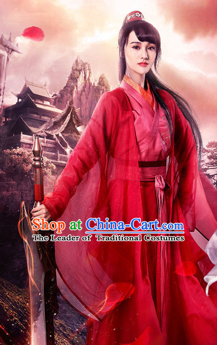 Chinese Ancient Women Swordswoman Hanfu Clothing Film Costumes Traditional Girls Dress and Headwear Complete Set