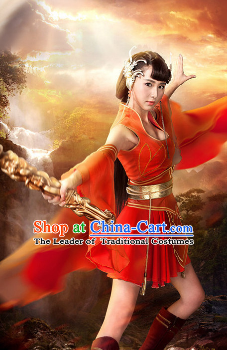 Chinese Ancient Swordswoman Superheroine Costumes and Hair Ornaments Complete Set