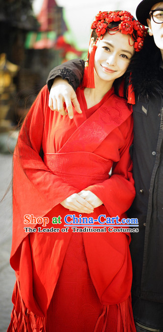 China Ancient Red Hanfu Wedding Dresses and Hair Ornaments Female Bridal Han Fu Complete Set