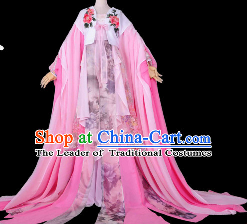 Chinese Hanfu Hakama Traditional Fairy Dress Quju Supreme Chinese Princess Costume Ancient Chinese Costume and Headpieces Complete Set