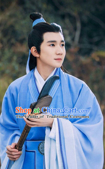 Chinese Ancient Men Black Long Wigs