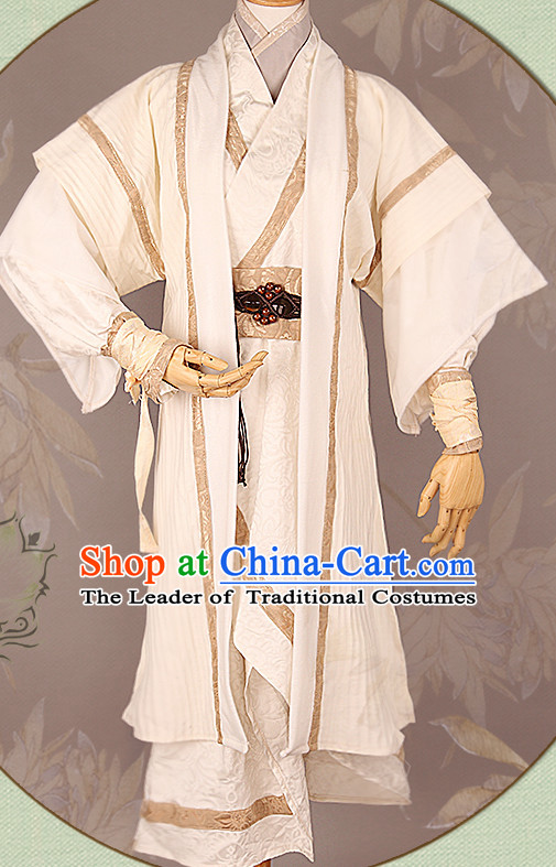 White Chinese Male Hanfu Robe Clothing Handmade Bjd Dress Opera Costume Drama Costumes Complete Set