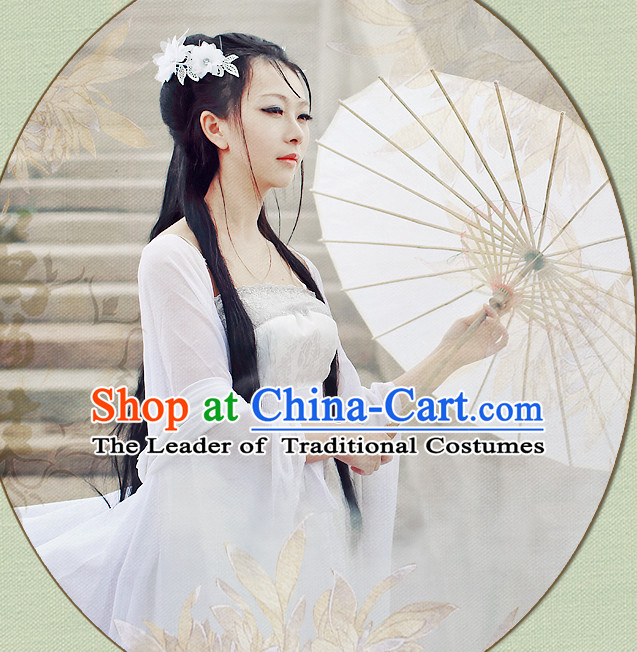Chinese White Hanfu Fairy Robe Clothing Handmade Bjd Dress Opera Costume Drama Costumes Complete Set