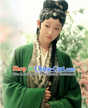 Chinese Green Hanfu Noblewoman Robe Clothing Handmade Bjd Dress Opera Costume Drama Costumes Complete Set