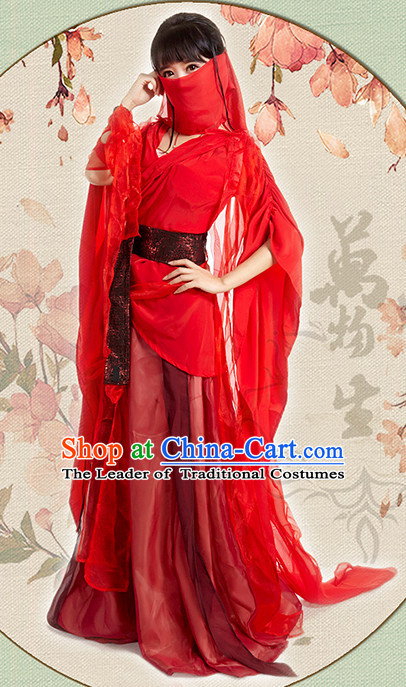 Red Chinese Hanfu Robe Clothing Handmade Bjd Dress Opera Costume Drama Costumes Complete Set
