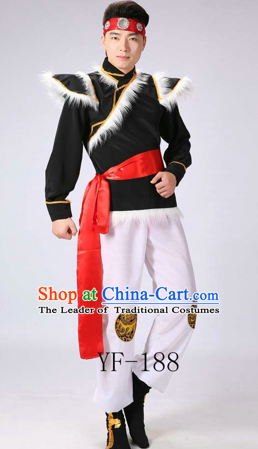 Chinese Mongolian Minority Men Dance Dress China Fan Dance Costume Ribbon Dance Costumes Folk Dance Suit