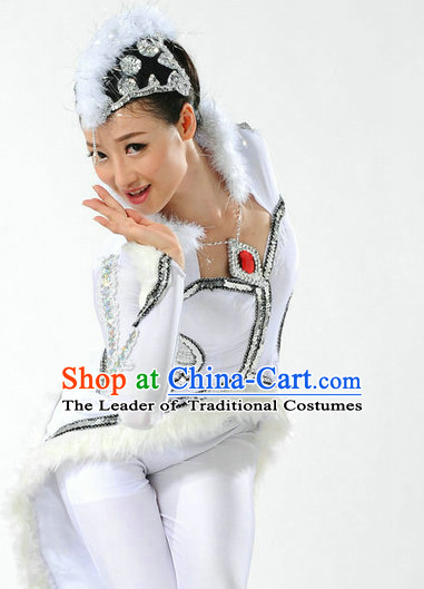 Chinese Women Dance Dress China Fan Dance Costume Ribbon Dance Costumes Folk Dance Suit