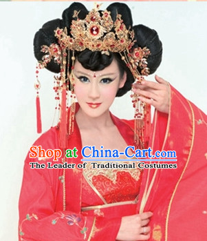 Chinese Ancient Black Wigs Hair Accessories Headpiece Headdress
