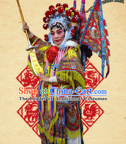 Chinese Opera Beijing Opera Peking Opera Hua Dan Costume Embroidered Robe Hua Dan Opera Costumes and Headdress Complete Set