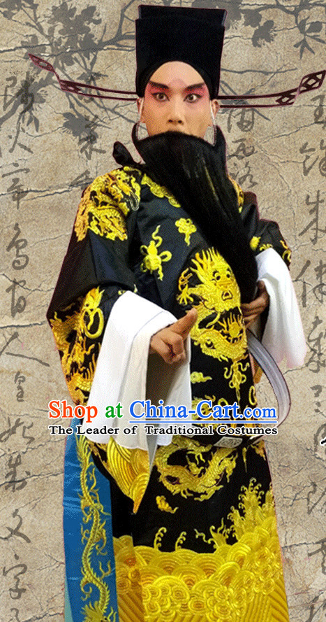 Chinese Opera Beijing Opera Peking Opera Bao Gong Costume Embroidered Robe Hua Dan Opera Judge Bao Costumes and Headdress Complete Set