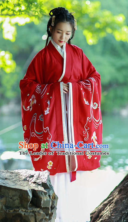 Ancient Chinese Han Dynasty Women Han Costume Dress Red Hanfu Suit