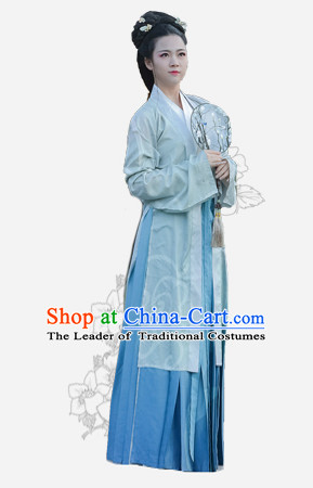 Chinese Traditional Dynasty Royal Stage Hanfu Hanbok Kimono Feitian Costume Dresses Costume Ancient Fairy Garment and Headpieces Complete Set