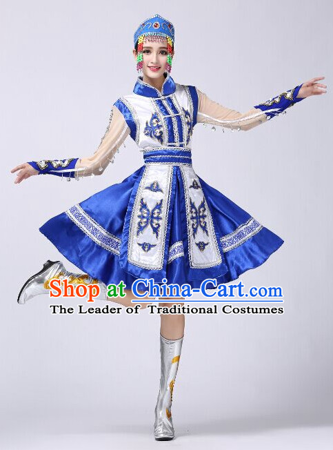 Chinese Folk Mongolian Dance Costumes and Hat Complete Set for Women
