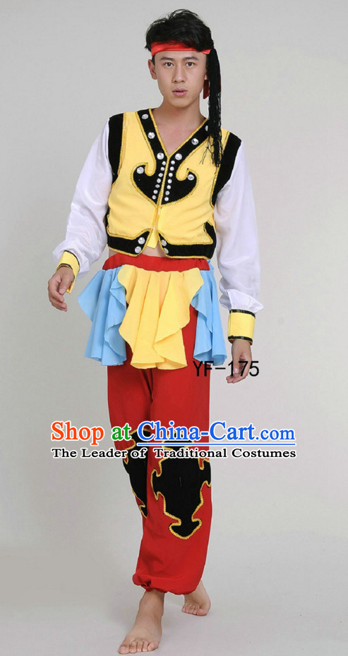Chinese Folk Mongolian Dance Costume and Hat Complete Set for Men