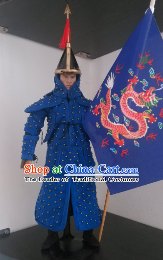 Blue Chinese Qing Dynasty General White Armor Hanfu Dress Gown Costumes Ancient Costume Clothing Complete Set