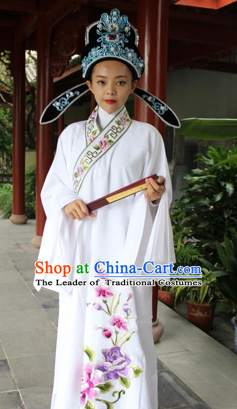 Chinese Scholar Opera Stage Costume Embroidered Young Men Hanfu Dress Gown Costumes Ancient Costume Clothing Complete Set