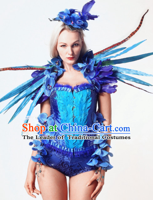 Parade Quality Forest Dance Costumes Popular Ostrich Feathers Fancy Costume Stage Costumes Angel Wings Costume Complete Set