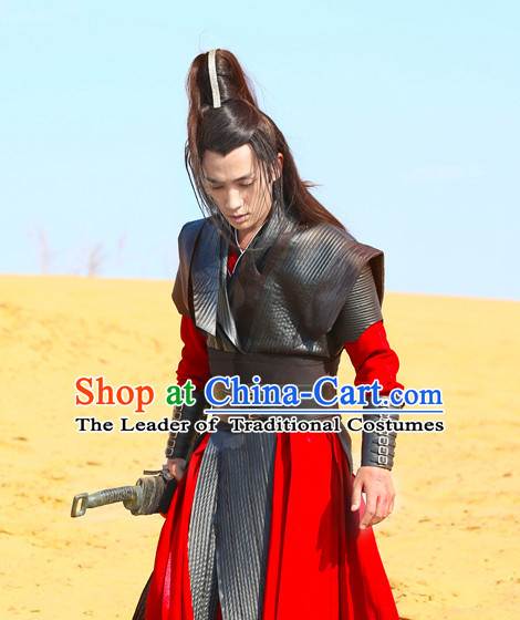 Red Black Chinese Men Knight Costume Stage Drama Costumes Han Fu Costume Complete Set