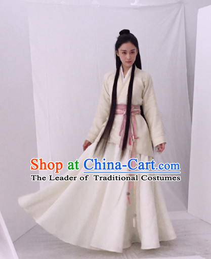 Chinese Female Beauty Hero Costume Stage Drama Costumes White Han Fu Costume Complete Set