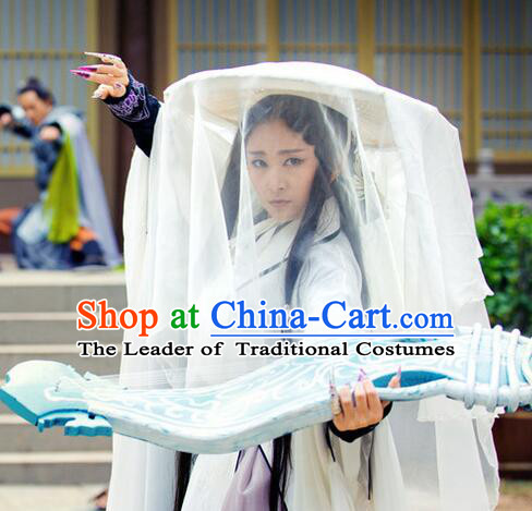 Chinese Ancient Swordsman Bamboo Coolie Hat with White Long Veil