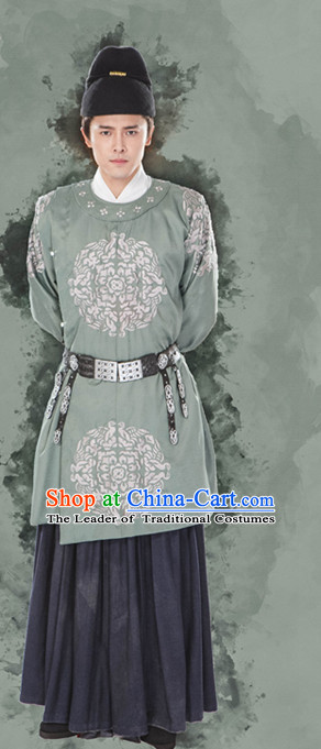 Chinese Ancient Imperial Palace Official Clothing Garment and Hat Complete Set for Men