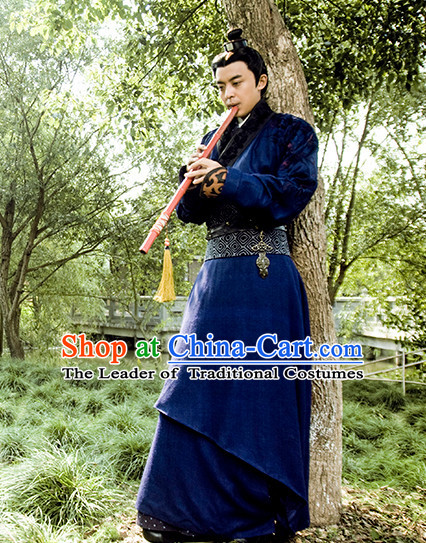 Chinese Ancient Swordsman Clothing Garment and Hat Complete Set for Men