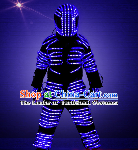 Robot Fancy Costume LED Lights Costumes Dancing Costume and Helmet Complete Set for Kids Adults Men Boys