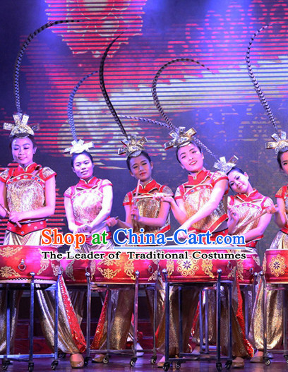 Professional Stage Performance Drum Player Dance Costumes Complete Set for Women or Girls