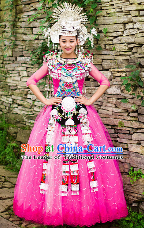 Pink Chinese Miao Princess Clothing Miao Clothes Minority Dresses Ethnic Costumes and Accessories Complete Set for Women