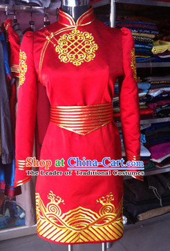Chinese Mongolian Minority Mongol Women Wedding Dress Mongolia Minority Dresses Ethnic Mongolian Costume Complete Set