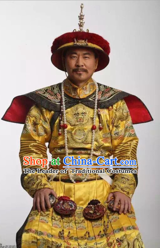 Top China Qing Dynasty Emperor Kang Xi Embroidered Robe Dragon Costumes Complete Set