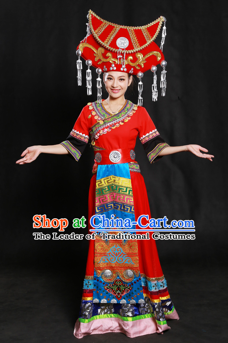 Zhuang Minority Women Dresses Ethnic Clothing Minority Dance Costume Minority Dress