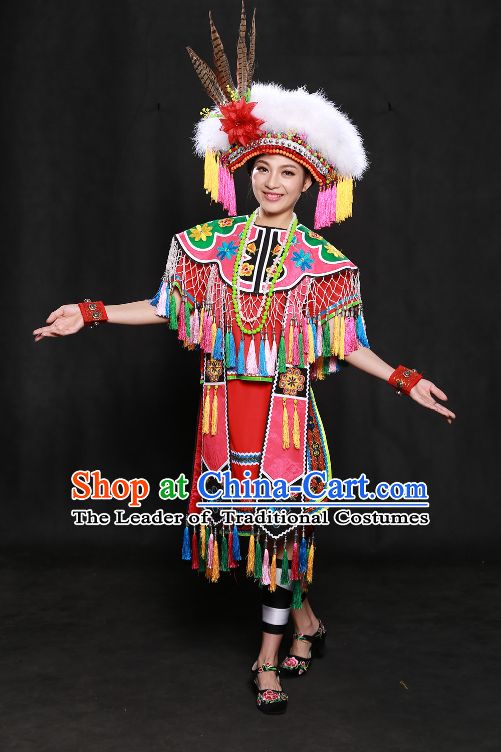 Chinese Gaoshan Taiwan Minority Women Dresses Ethnic Clothing Minority Dance Costume Minority Dress Complete Set for Women
