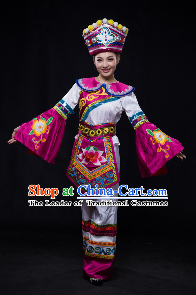 Chinese Minority Women Dresses Ethnic Clothing Minority Dance Costume Minority Dress Complete Set for Women