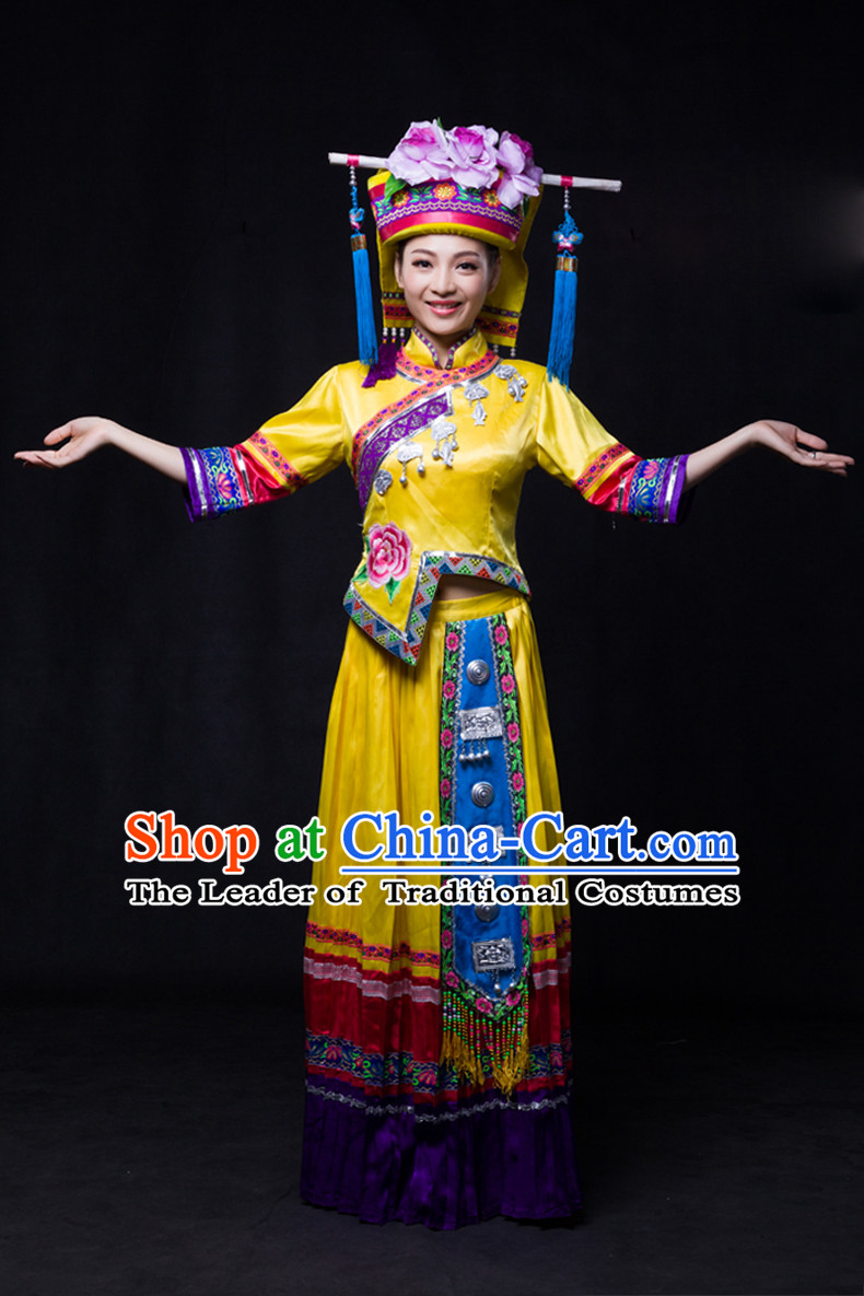 Chinese Yi Lao Miao Zhuang Minority Women Dresses Ethnic Clothing Minority Dance Costume Minority Dress Complete Set