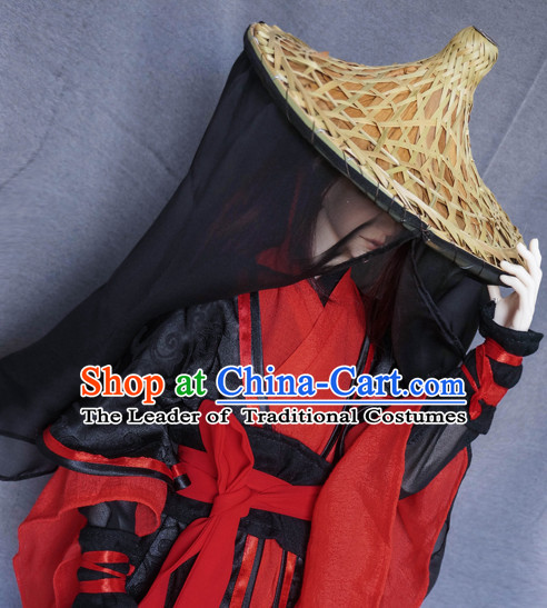 Ancient Chinese Swordsman Costumes and Bamboo Hat Veil Complete Set