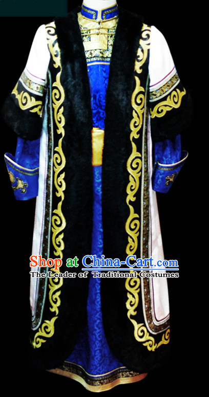 Chinese Classical Mongolian Minority Emperor Mongol Long Robe Mongolia Prince Clothing Ethnic Traditional Costumes Complete Set