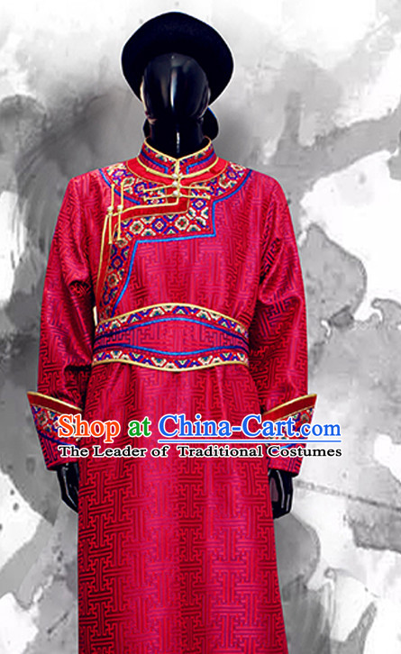 Top Mongolian Minority Emperor Mongol Long Robe Mongolia Prince Clothing Ethnic Traditional Wedding Dresses and Hat Complete Set