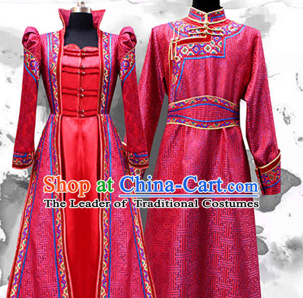 Top Mongolian Minority Ethnic Traditional Wedding Dresses and Hats 2 Complete Sets for Brides and Bridegrooms
