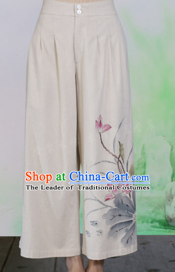 Chinese Classical Hands Painted Lotus Mandarin Pants
