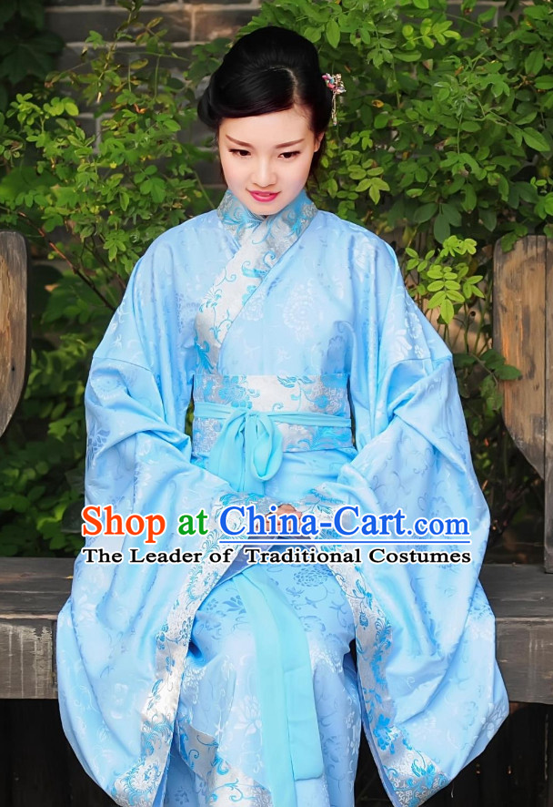 Blue Ancient Chinese Han Dynasty Dresses Hanfu Wedding Dress Hanbok Kimono Complete Set for Women