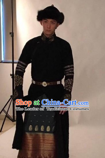 Qing Dynasty Manchu Chinese Aristocrat Clothing and Coronet Headwear Complete Set for Men