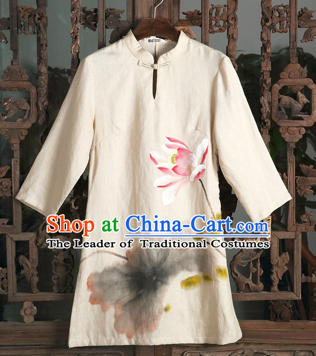Top Chinese Classical Traditional Hands Painted Lotus Blouse for Ladies
